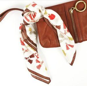 Vintage Silk Handbag Tassle Scarf
